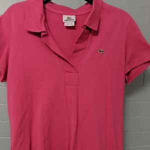 Lacoste pink Polo shirt French 42 Fits like M